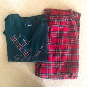 LL Bean boys Flannel pajama set, size 10.